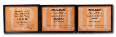 OSCAR ROBERTSONS 1958, 1959 AND 1960 UNITED PRESS INTERNATIONAL FIRST TEAM ALL-AMERICA CERTIFICATES (ROBERTSON COLLECTION)