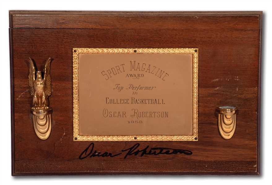 OSCAR ROBERTSONS AUTOGRAPHED 1958 SPORT MAGAZINE TOP PERFORMER IN COLLEGE BASKETBALL AWARD (ROBERTSON COLLECTION)