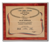 OSCAR ROBERTSONS HELMS ATHLETIC FOUNDATION HALL OF FAME AWARD PLAQUE (ROBERTSON COLLECTION)