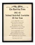OSCAR ROBERTSONS THE SPORTING NEWS 1962-63 NBA ALL-STAR FIRST TEAM AWARD (ROBERTSON COLLECTION)