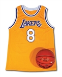 KOBE BRYANT AUTOGRAPHED PAIR OF LOS ANGELES LAKERS HOME #8 JERSEY AND SPALDING BASKETBALL (PANINI COA)