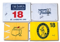 ARNOLD PALMER LOT OF (4) SIGNED GOLF PIN FLAGS INCL. 2004 MASTERS, 1995 BRITISH OPEN (ST. ANDREWS) & 1999 U.S. OPEN (PINEHURST #2)