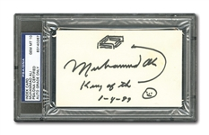 "MUHAMMAD ALI SIGNED & DATED INDEX CARD INSCRIBED ""KING OF THE [RING] WITH DOODLE/SKETCH – PSA/DNA GEM MINT 10 AUTO."