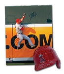 MIKE TROUT SIGNED & INSCRIBED L.A. ANGELS PRO MODEL BATTING HELMET AND 16x20 AUTOGRAPHED PHOTO (MLB AUTH.)