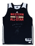 "2016 STEPHEN CURRY SIGNED AND ""KOBES LAST"" INSCRIBED NBA ALL-STAR PRACTICE WORN WESTERN CONFERENCE JERSEY (CURRY LOA, FANATICS AUTH.)"