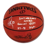 JUNE 1, 2017 STEPHEN CURRY SIGNED NBA FINALS (WARRIORS VS. CAVS) GAME 1 USED BASKETBALL WITH KEY INSCRIPTIONS (FANATICS AUTH.)