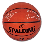 "KOBE BRYANT AUTOGRAPHED OFFICIAL SPALDING NBA BASKETBALL INSCRIBED ""81 PTS 1/22/06"" – LE 24/81 (PANINI COA)"