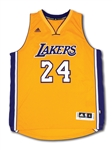 "KOBE BRYANT SIGNED AND ""BLACK MAMBA"" INSCRIBED LOS ANGELES LAKERS ADIDAS SWINGMAN HOME JERSEY – LE 4/124 (PANINI COA)"