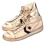 C. 1981 MAGIC JOHNSON L.A. LAKERS (@ ROCKETS) GAME WORN CONVERSE MAGIC SHOES SIGNED & INSCRIBED POST-CAREER (ELVIN HAYES SON LOA)