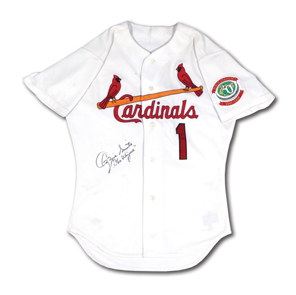 OZZIE SMITHS SIGNED & INSCRIBED 1996 ST. LOUIS CARDINALS (FINAL SEASON) GAME WORN HOME JERSEY (SMITH LOA)