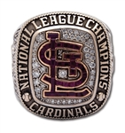 OZZIE SMITHS 2013 ST. LOUIS CARDINALS NATIONAL LEAGUE CHAMPIONS 14K GOLD RING (SMITH LOA)