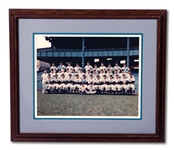 1950 NEW YORK YANKEES WORLD CHAMPION TEAM PHOTO (11x14) SIGNED BY 23 INCL. DiMAGGIO, BERRA, RIZZUTO, FORD & MIZE