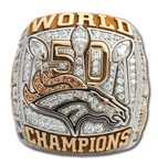 2015 DENVER BRONCOS SUPER BOWL 50 CHAMPIONS 10K GOLD RING WITH ORIGINAL PRESENTATION BOX (TEAM EXECUTIVE)