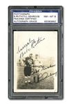EXTRAORDINARY C. 1931 BABE RUTH AND LOU GEHRIG DUAL-SIGNED ORIGINAL BARNSTORMING SNAPSHOT PHOTO (PSA/DNA NM-MT 8)