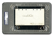 FEB. 15, 1929 BABE RUTH AUTOGRAPHED AND DATED ALBUM PAGE (PSA/DNA AUTHENTIC)