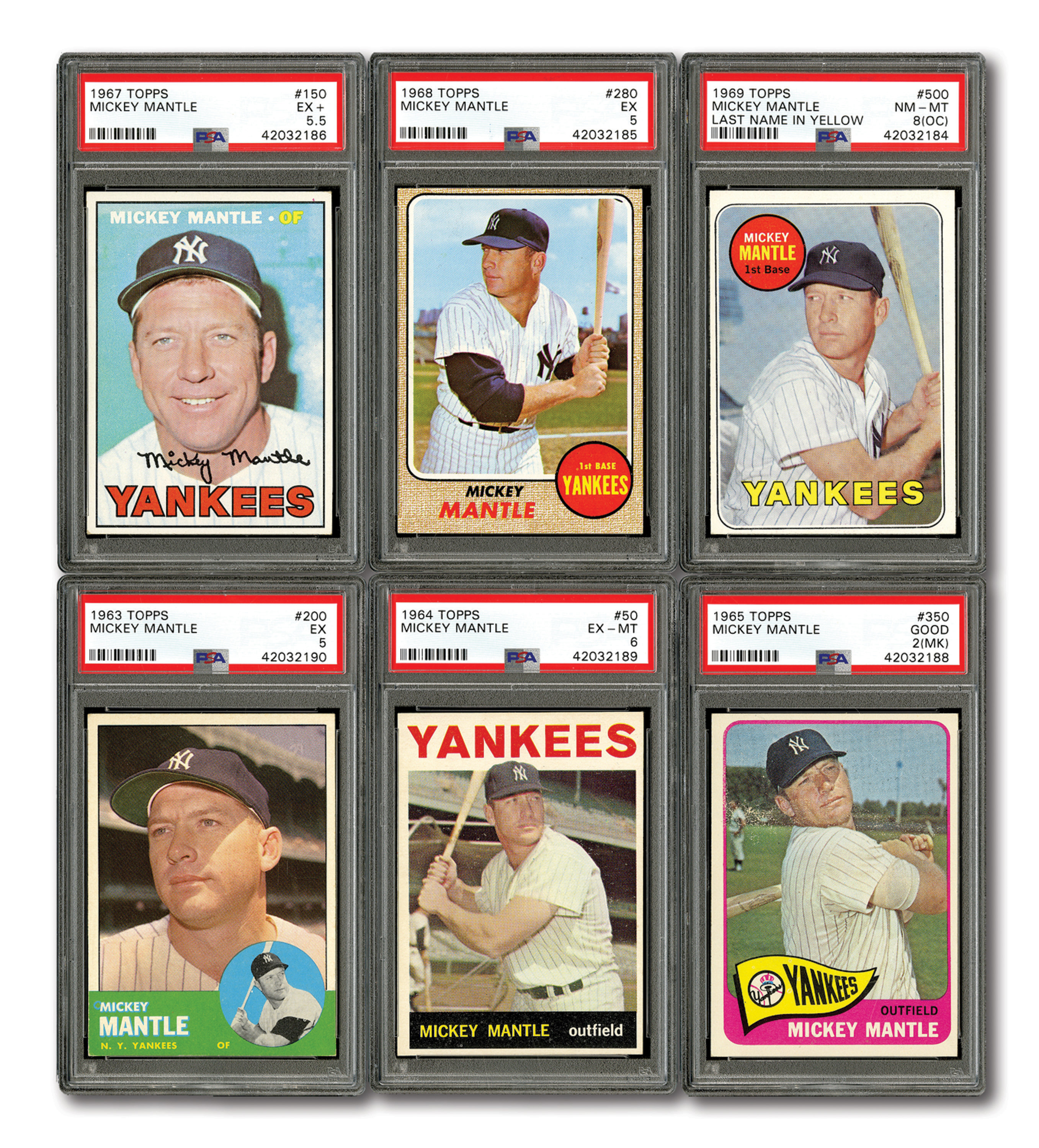 Lot Detail Group Of 6 1963 69 Topps Mickey Mantle Cards All Psa