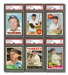 GROUP OF (6) 1963-69 TOPPS MICKEY MANTLE CARDS ALL PSA GRADED