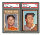 1962 TOPPS #200 MICKEY MANTLE AND #471 MICKEY MANTLE ALL-STAR (BOTH PSA NM 7)
