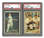 1957 TOPPS #95 MICKEY MANTLE (PSA EX+ 5.5) AND #407 YANKEES POWER HITTERS (PSA VG-EX 4)