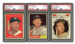 TRIO OF 1961 TOPPS MICKEY MANTLE CARDS INCL. #300 (PSA EX-MT 6), #475 MVP (PSA NM-MT 8-PD) AND #578 ALL-STAR (PSA NM 7)