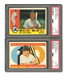 1960 TOPPS #350 MICKEY MANTLE (PSA VG-EX 4) AND #563 MICKEY MANTLE ALL-STAR (PSA EX-MT 6)
