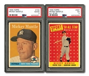 1958 TOPPS #150 MICKEY MANTLE (PSA GD 2) AND #487 MICKEY MANTLE ALL-STAR (PSA EX 5)
