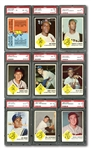 1963 FLEER BASEBALL 100% PSA GRADED COMPLETE SET OF (66) PLUS CHECKLIST – CURRENTLY RANKED #20 ON REGISTRY WITH 8.31 GPA