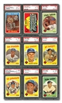 1959 TOPPS LOS ANGELES DODGERS PSA GRADED COMPLETE SET OF (36) – CURRENTLY RANKED #5 ON REGISTRY WITH 8.04 SET RATING