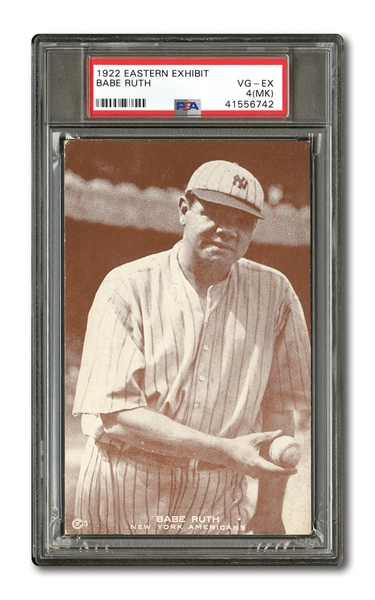 NEW YORK YANKEES EXHIBIT CARD LOT OF (10) INCL. 1922 EASTERN EXHIBIT BABE RUTH PSA VG-EX 4 (MK) AND 1947-66 MICKEY MANTLE (NAME OUTLINE IN WHITE) PSA EX+ 5.5