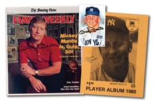 LOT OF (3) MICKEY MANTLE AUTOGRAPHED ITEMS INCL. 1981 PEREZ-STEELE POSTCARD