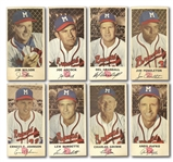 MILWAUKEE BRAVES PAIR OF 1953 AND 1954 JOHNSTON COOKIES PARTIAL SETS PLUS (4) BRAVES SCORECARDS/YEARBOOKS 1955-63