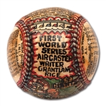 "GEORGE SOSNAK ""1921 WORLD SERIES"" HAND-PAINTED BASEBALL HONORING GRANTLAND RICE"