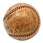1923 NEW YORK YANKEES (FIRST WORLD CHAMPIONSHIP) TEAM SIGNED OAL (JOHNSON) BASEBALL INCL. RUTH