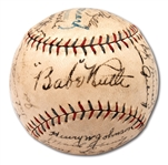 1928 NEW YORK YANKEES WORLD CHAMPIONS TEAM SIGNED OAL (BARNARD) BASEBALL INCL. RUTH & GEHRIG