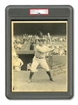 "LOU GEHRIG AUTOGRAPHED 8"" BY 10"" ORIGINAL PHOTOGRAPH BY CHARLES CONLON FROM HIS 1933 GOUDEY CARD PHOTO-SHOOT (PSA/DNA TYPE I / AUTO. GRADE 8)"