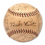 1929 NEW YORK YANKEES TEAM SIGNED OAL (BARNARD) BASEBALL INCL. RUTH & GEHRIG