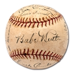 1929 NEW YORK YANKEES AND BOSTON BRAVES MULTI-TEAM SIGNED BASEBALL WITH 11 HOFERS INCL. RUTH, GEHRIG, SISLER, EVERS & SPEAKER
