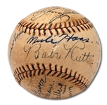 1930 NEW YORK YANKEES AND PHILADELPHIA ATHLETICS (WS CHAMPS) MULTI-SIGNED BASEBALL WITH 9 HOFERS INCL. RUTH, GEHRIG, FOXX, ETC.