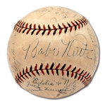 1931 NEW YORK YANKEES TEAM SIGNED ONL (HEYDLER) BASEBALL INCL. RUTH & GEHRIG