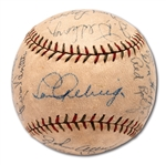 1935 NEW YORK YANKEES TEAM SIGNED BASEBALL WITH 8 HOFERS INCL. GEHRIG