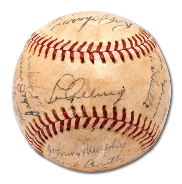 1936 NEW YORK YANKEES WORLD CHAMPIONS TEAM SIGNED OAL (HARRIDGE) BASEBALL INCL. GEHRIG & ROOKIE DiMAGGIO