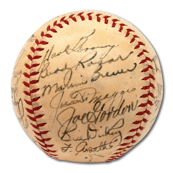 1942 NEW YORK YANKEES AMERICAN LEAGUE CHAMPIONS TEAM SIGNED OAL (HARRIDGE) BASEBALL