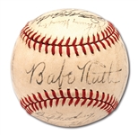 1943 NEW YORK YANKEES WORLD CHAMPIONS TEAM SIGNED OAL (HARRIDGE) BASEBALL WITH BABE RUTH
