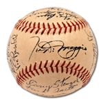 1951 NEW YORK YANKEES WORLD CHAMPIONS TEAM SIGNED OAL (HARRIDGE) BASEBALL INCL. ROOKIE MANTLE & DiMAGGIO