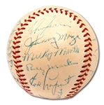 1953 NEW YORK YANKEES WORLD CHAMPIONS TEAM SIGNED OAL (HARRIDGE) BASEBALL - RECORD 5TH STRAIGHT TITLE