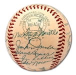 1954 NEW YORK YANKEES TEAM SIGNED OAL (HARRIDGE) BASEBALL INCL. MANTLE TWICE