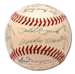 1955 NEW YORK YANKEES AMERICAN LEAGUE CHAMPIONS TEAM SIGNED OAL (HARRIDGE) BASEBALL