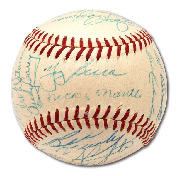 1957 NEW YORK YANKEES AMERICAN LEAGUE CHAMPIONS TEAM SIGNED ONL (GILES) BASEBALL
