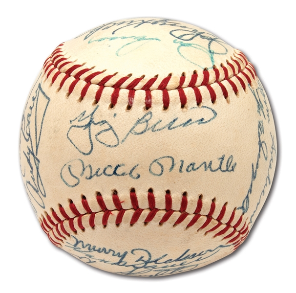 1958 NEW YORK YANKEES WORLD CHAMPIONS TEAM SIGNED OAL (HARRIDGE) BASEBALL (PSA/DNA NM-MT 8 AUTO.)