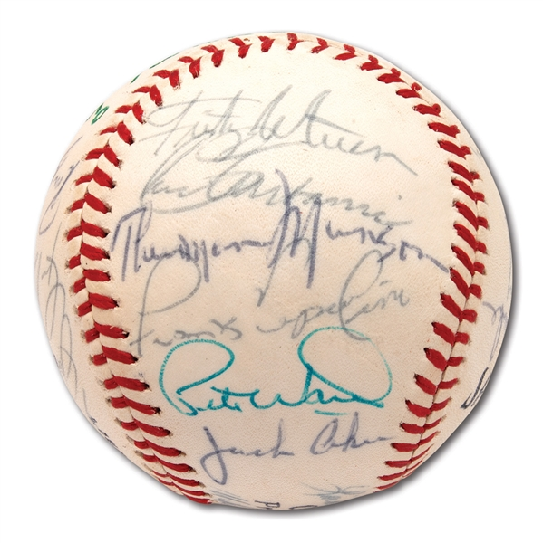1970 NEW YORK YANKEES TEAM SIGNED BASEBALL INCL. ROOKIE THURMAN MUNSON
